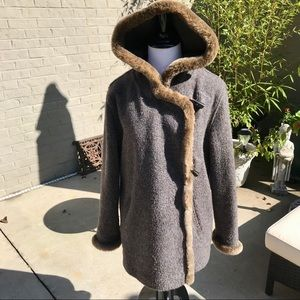 J. JILL Wool-Blend Coat with Hood and Faux Fur